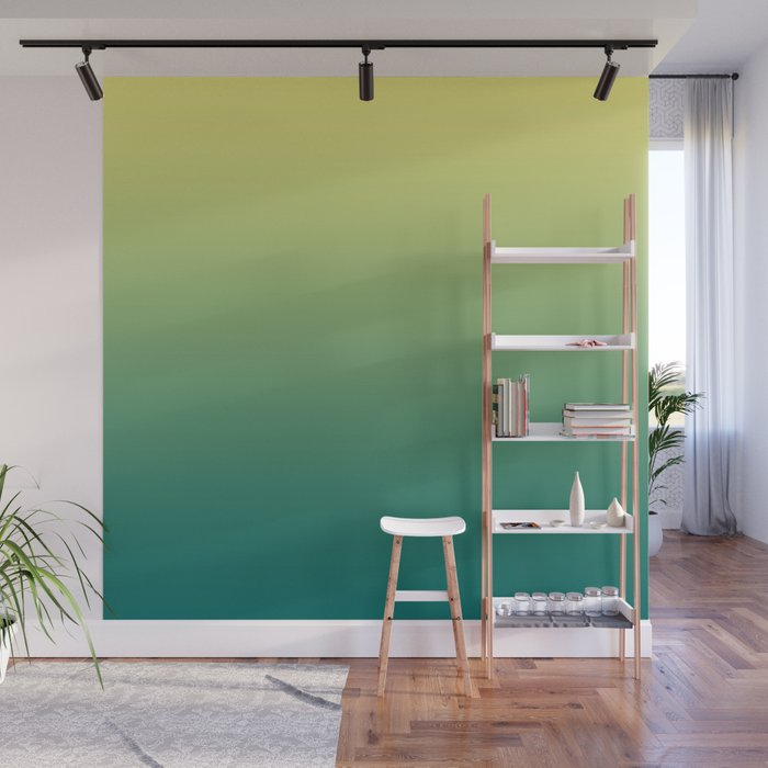 Yellow Lime Quetzal Green Ombre Gradient Pattern Wall Mural