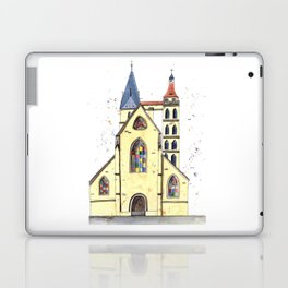 Gothic Church in Germany whimsical watercolor painting Laptop & iPad Skin
