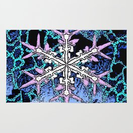 GRAPHIC WINTER SNOWFLAKE PEN & INK DRAWING Rug