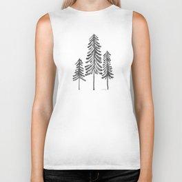 Pine Trees – Black Ink Biker Tank
