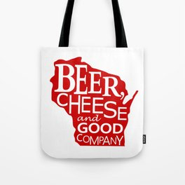 Red and White Beer, Cheese and Good Company Wisconsin Graphic Tote Bag