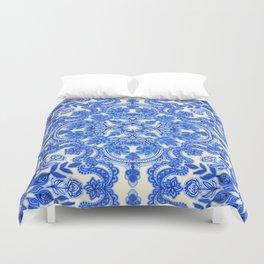 Cobalt Blue & China White Folk Art Pattern Duvet Cover