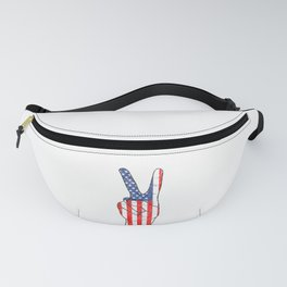 American Flag Hand Giving Peace Sign Fanny Pack