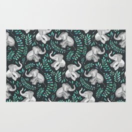 Laughing Baby Elephants – emerald and turquoise Rug