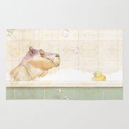 Hippo in the bath Rug