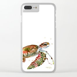 Sea Turtle, Brown, Olive green Pink Shades Clear iPhone Case