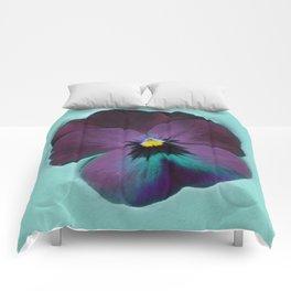 Purple viola tricolor Comforters