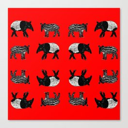 Dance of the Tapirs in red Canvas Print