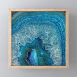 Blue agate marble faux druse crystal quartz gem gemstone geode mineral stone photograph hipster Framed Mini Art Print