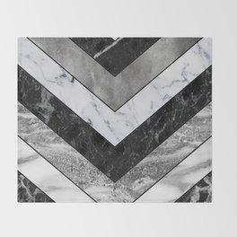 Shimmering mirage - grey marble chevron Throw Blanket