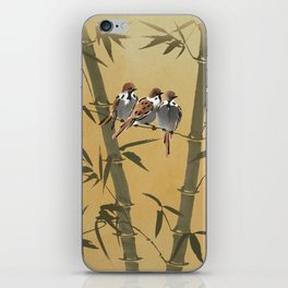 Three Sparrows In Bamboo Tree iPhone Skin