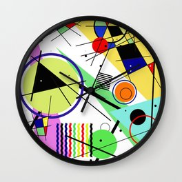 Retro Crazy - Abstract, random, crazy, geometric, colourful artwork Wall Clock