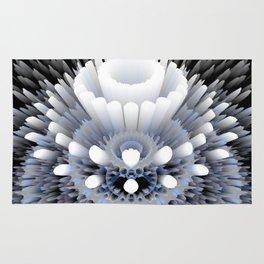 3D layers of mandala in blue-white-grey-black Rug