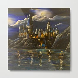 Hogwarts at Starry night Metal Print