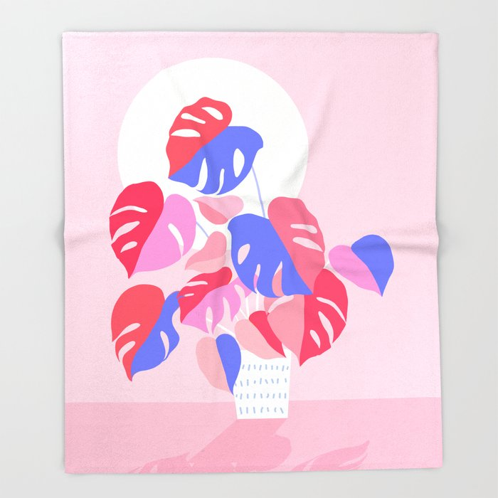 Pretty Monstera Plant in blue and pink Throw Blanket