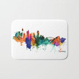 Sydney watercolor skyline Bath Mat