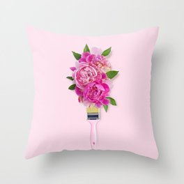 Peonies on Pink Throw Pillow