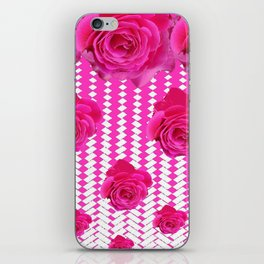 ABSTRACTED CERISE PINK ROSES GARDEN ART iPhone Skin