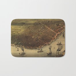 Vintage Pictorial Map of New Orleans (1885) Bath Mat