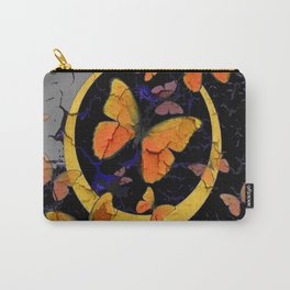 """SHABBY CHIC """"OFF THE WALL"""" BUTTERFLIES &  BLACK  ART Carry-All Pouch"""