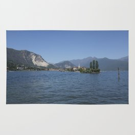 Panoramic view of Fishermen Island on Lake Maggiore, Italy Rug