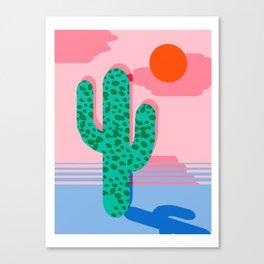 No Foolin - retro throwback neon art design minimal abstract cactus desert palm springs southwest  Canvas Print