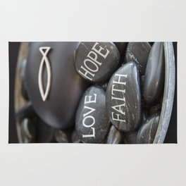 Love Faith Hope Christian Quote Black Pebble Embossing Rug