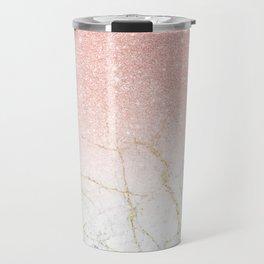 Rose Gold Glitter and gold white Marble Travel Mug
