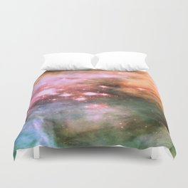 Colorful Pink Sparkle Carina Nebula Abstract Duvet Cover