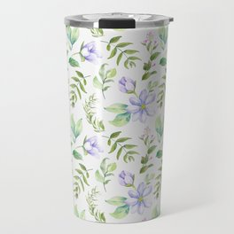 Watercolor lavender lilac green hand painted floral Travel Mug