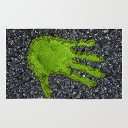 Carbon handprint / 3D render of modern city with handprint shaped park Rug