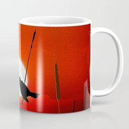 Blackbirds On Red Sunset. Coffee Mug