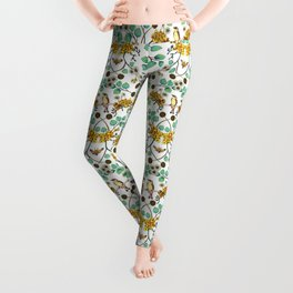 Warblers & Moths - Yellow & Teal Spring Floral/Bird Pattern Leggings