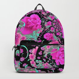 CERISE PINK ROSES & TURQUOISE RIBBONS ON BLACK Backpack