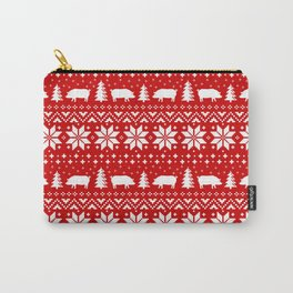 Pig Silhouettes Christmas Sweater Pattern Carry-All Pouch