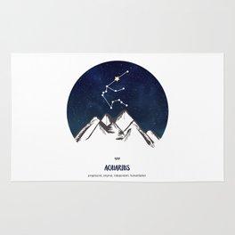 Astrology Aquarius Zodiac Horoscope Constellation Star Sign Watercolor Poster Wall Art Rug