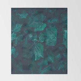 Dark emerald green ivy leaves water drops Throw Blanket