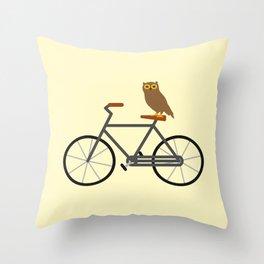 Owl Riding Bike Throw Pillow