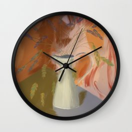 Autumn Lavender - Hand Drawn with Warm Terracotta Colours Wall Clock