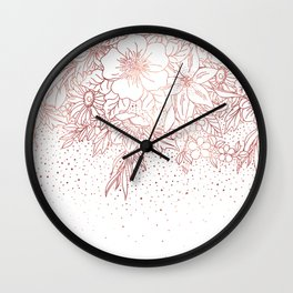 Rose gold hand drawn floral doodles and confetti design Wall Clock