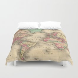 Vintage Map of The World (1860) Duvet Cover