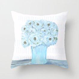 Boho still life flowers in vase Throw Pillow