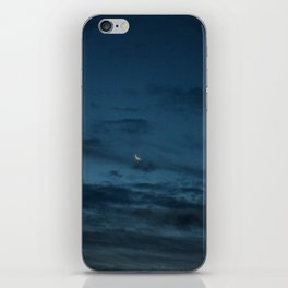 Morning Moonrise: Crescent in the Clouds iPhone Skin
