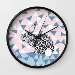 Cute Rabbit Leopard Pattern Design Wall Clock
