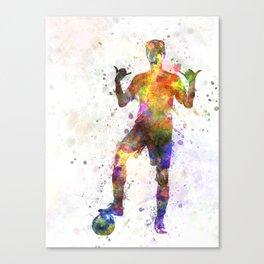 soccer football player young man saluting Canvas Print