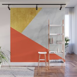 Carrara Marble with Gold and Pantone Flame Color Wall Mural