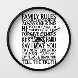 Family Rules 2 Wall Clock