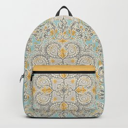 Gypsy Floral in Soft Neutrals, Grey & Yellow on Sage Backpack