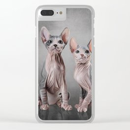 Drawing two cats Sphynx, hairless Clear iPhone Case