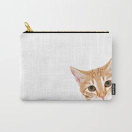 Peeking Orange Tabby Cat - cute funny cat meme for cat ladies cat people Carry-All Pouch